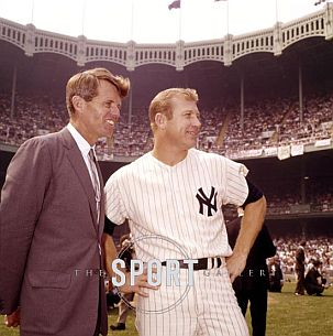 Mickey Mantle and Robert Kennedy, Mickey Mantle day at Yankee Stadium, 1968