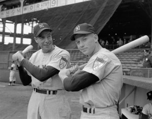 The Yankee Clipper and #7, Joe Dimaggio and Mickey Mantle, 1951