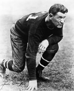 American Athlete Jim Thorpe Crouching