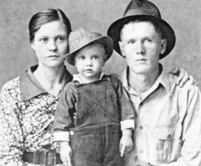 Elvis with Vernon and Gladys Presley, 1937