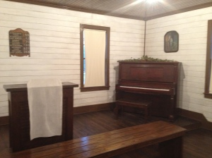 Assembly of God Church, interior shot of altar and piano, Tupelo, Ms
