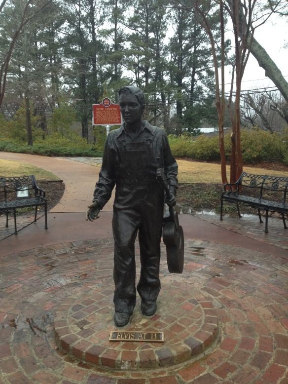 Statue of Elvis Presley, age 13. Elvis Presley birthplace site and museum, Tupelo, Ms