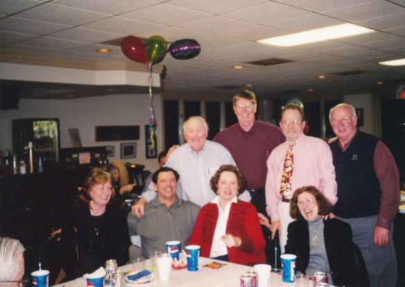 Mattoon High School class of 1960 group shot, Bob Hilligoss 60th birthday party, 2002, Godfrey, Il
