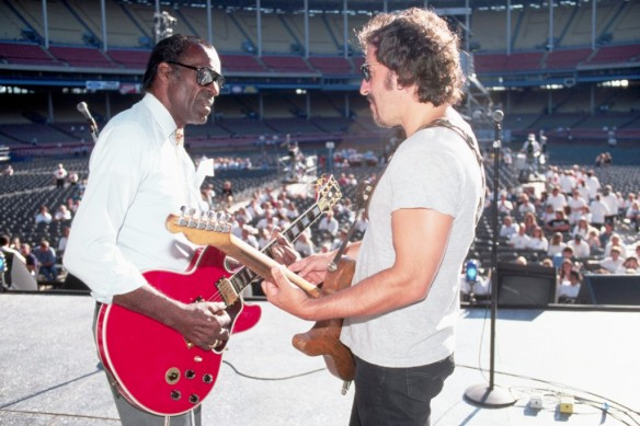 Chuck Berry and Bruce Springsteen playing their guitars like they're ringing a bell. Sound check September 1995