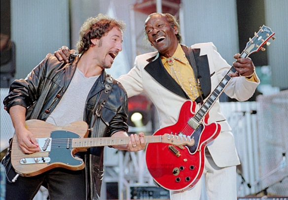 Chuck Berry and Bruce Springsteen perform Johnny B Goode, September 2, 1995, Cleveland, Ohio
