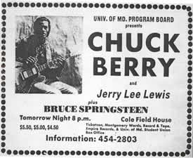 Newspaper ad for concert on 4-28-73 featuring Chuck Berry, Jerry Lee Lewis and Bruce Springsteen