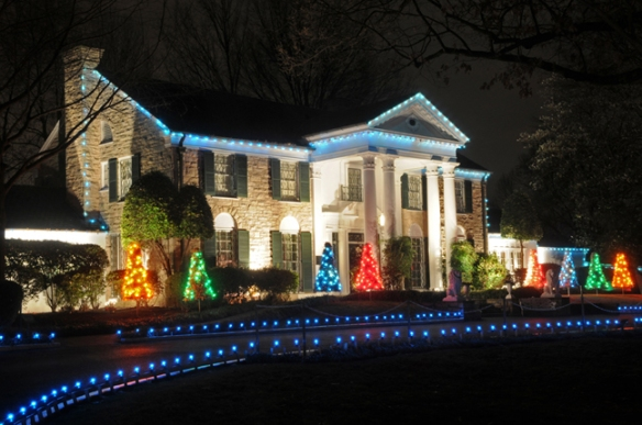 Graceland, Memphis, Tennessee with Christmas lights