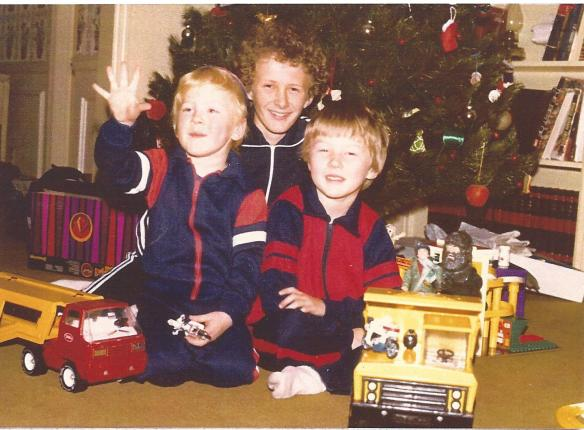 Ryan Barr Hilligoss with his brothers Kevin Lee and Robert Sean, Christmas morning, 1980, Godfrey, Il