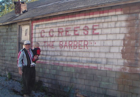 Robert Lee Hilligoss with Graham Ronald Hilligoss. Old barbershop in Humboldt, Il