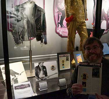 Shawn Poole with a copy of his article from Backstreets magazine inside the ICON exhibit on the Graceland Grounds, December, 2012