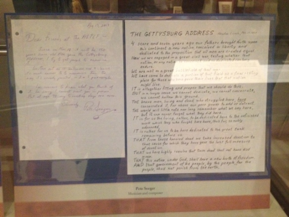 Pete Seeger's letter and redesigned Gettysburg Address. Springfield, Il ALPML