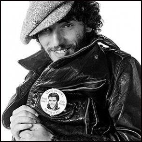 Springsteen with Elvis button, BTR cover outtake from Eric Meola