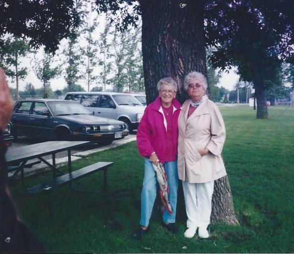 Mary Francis Cook Hilligoss and Letha Cook Hilligoss. Hilligoss reunion, Tuscola, Il 1992?