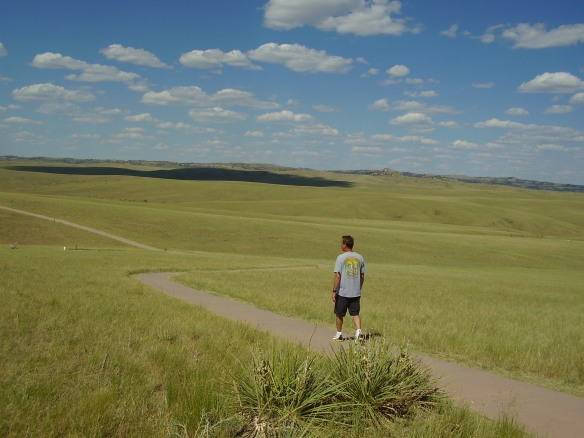 Kevin Lee walking along the Little Bighorn, Montana.