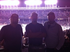 Like spirits in the night, all night Robert, Ryan and Kevin attend Springsteen show, Wrigley Field, 2012.