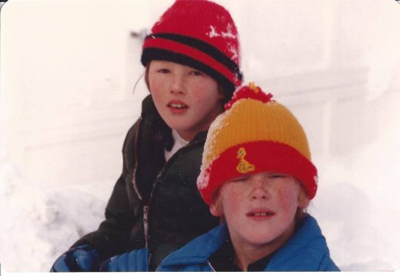 Sean and Ryan sledding